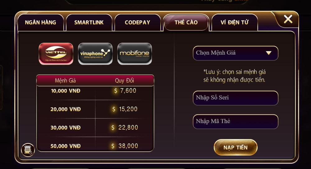 các hình thức nạp tiền tại game V8 Club