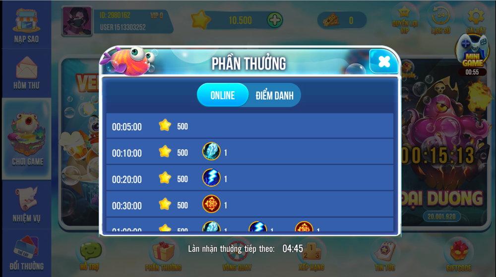 phần thưởng game bắn cá 5 Sao